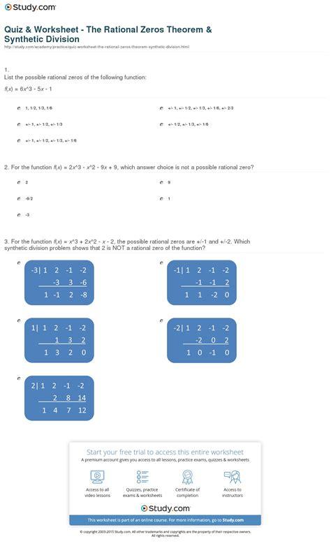 quiz worksheet the rational zeros theorem synthetic