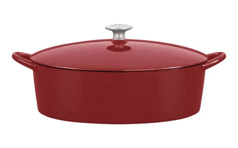 mario batali enameled cast iron oval dutch oven  quart chianti cutlery