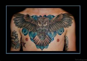 Flying Wings Designs 50 Cute Owl Tattoos On Chest