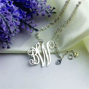 personalized 2 initial monogram necklace sterling silver With 2 letter initial necklace