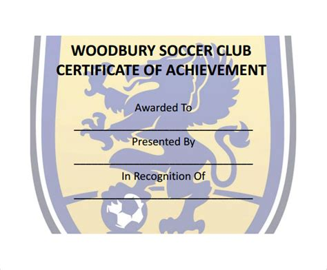 soccer certificate template  psd ai indesign word