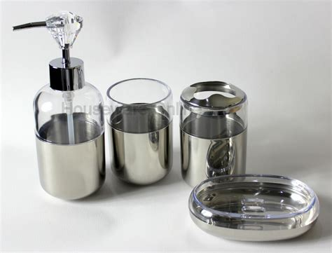 4pc Diamond Collection Stainless Steel Soap Dispenser Dish