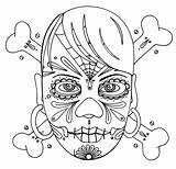 Skull Coloring Pages Crossbones Sugar Girly Bones Cross Pirate Getcoloringpages Flag sketch template