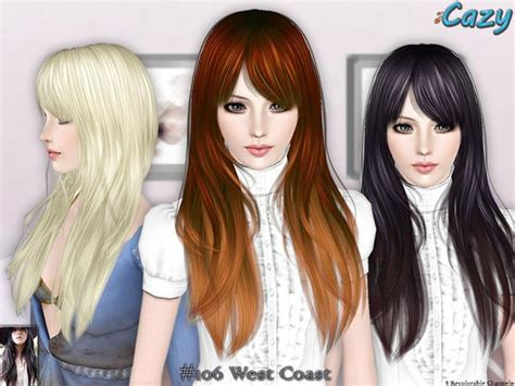 hair styles the sims 3 gorgeous hairstyle west coast by cazy 1809