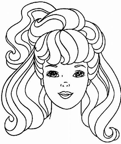 Coloring Barbie Pages Hair Hairstyles Haircuts Printable