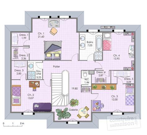 plan maison etage 4 chambres plan maison a etage