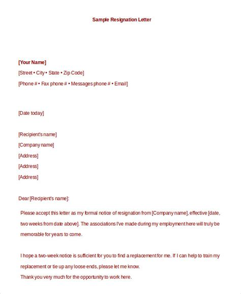formal resignation letter   word  documents