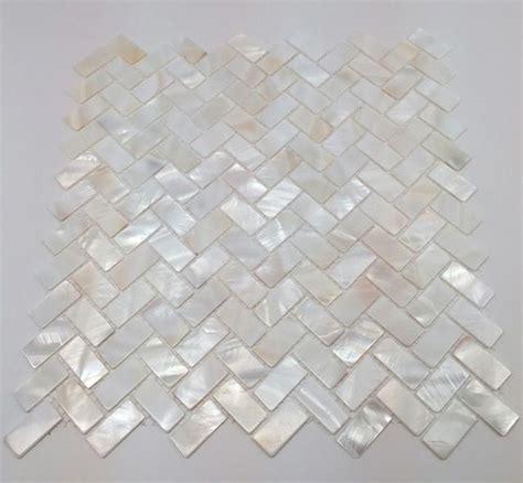 of pearl herringbone backsplash mosaic white