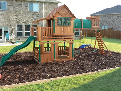 Backyard Playground Ideas - step by step how to border a playground area backyard