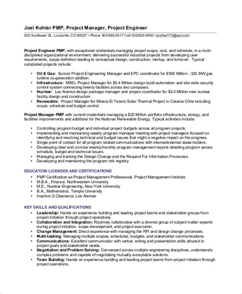 sample project manager resumes  word