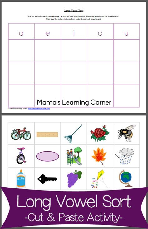 long vowel sort cut paste activity mamas learning corner