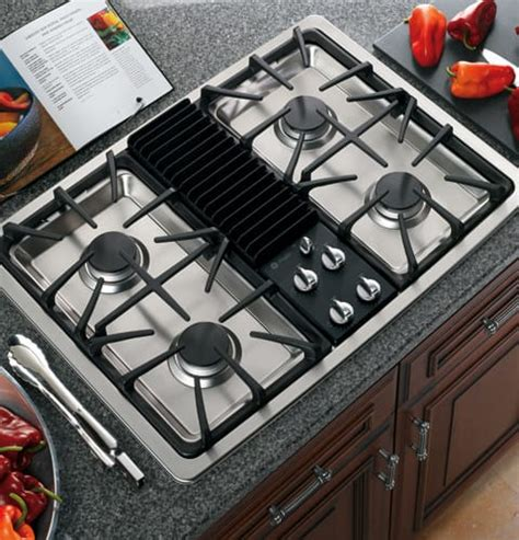 ge pgpsenss   downdraft gas modular cooktop   sealed burners recessed cooktop