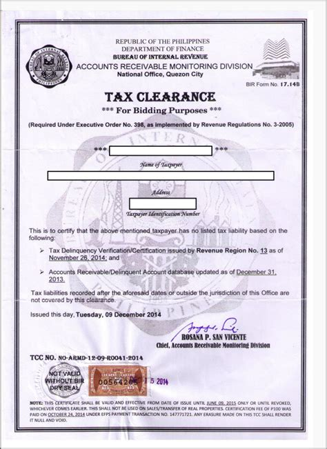 Company Registration Form Ghana by Bir Tax Clearance Corporation Requirements