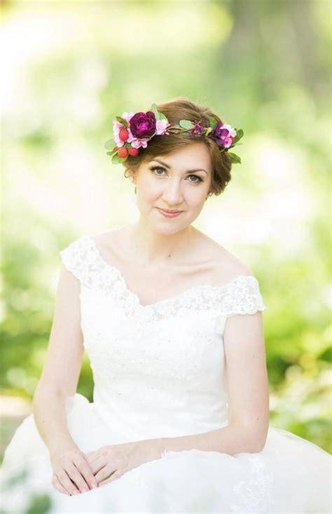 bridal flower crown wedding hair wreath floral head