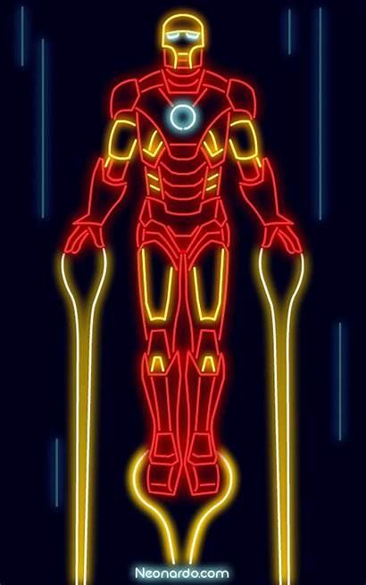 Iron Neon Posters Marvel Gifer Ironman Por