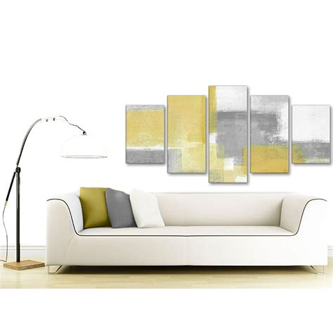 5 mustard yellow grey abstract living room canvas wall decor 5367 160cm xl set artwork