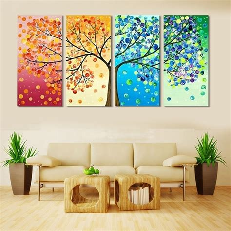 home interiors paintings 4 frameless colourful leaf trees canvas painting