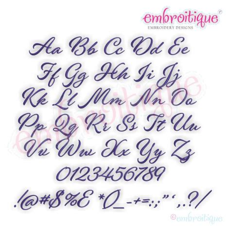 year created  shayna small calligraphy brush script embroidery monogram font