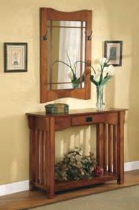 Oak Hall Tree With Bench by Console Table With Mirror Co 060 Hallway