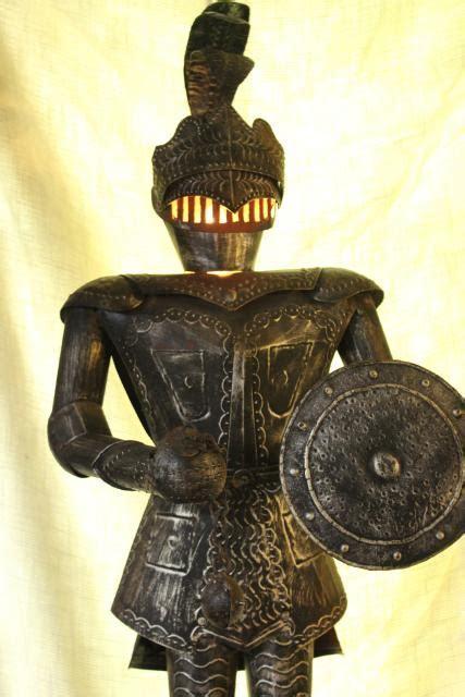 medieval knight armor, vintage art metal tall statue