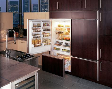 ge monogram  built  bottom freezer refrigerators  custom panels contemporary