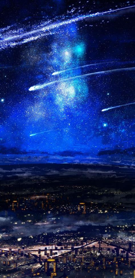 anime girl landscape night falling