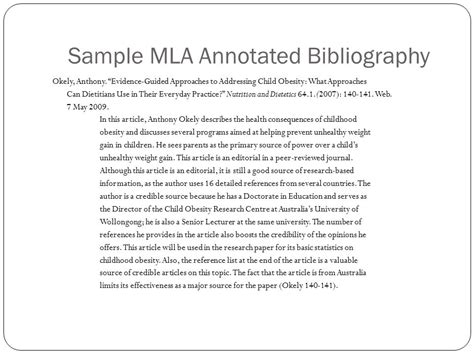 mla annotated bibliography template annotated bibliography exle