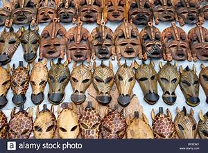 Wooden Masks  Souvenirs On The Market In Windhoek  Namibia
