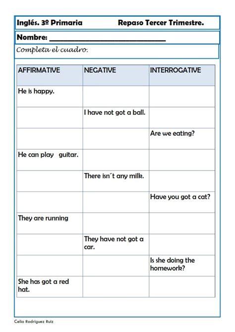 Nuevas fichas de inglés para Tercero de primaria con niños
