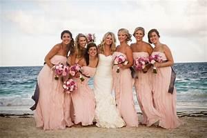 Blush pink strapless bridesmaid dresses long chiffon for Beach wedding party dresses