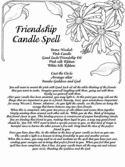 Shadows Spells Candle Spell Pages Friendship Printable