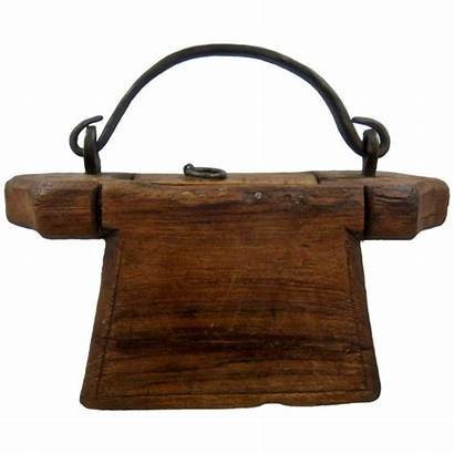 Tinder Wood Carved Box Primitive Wrought Iron