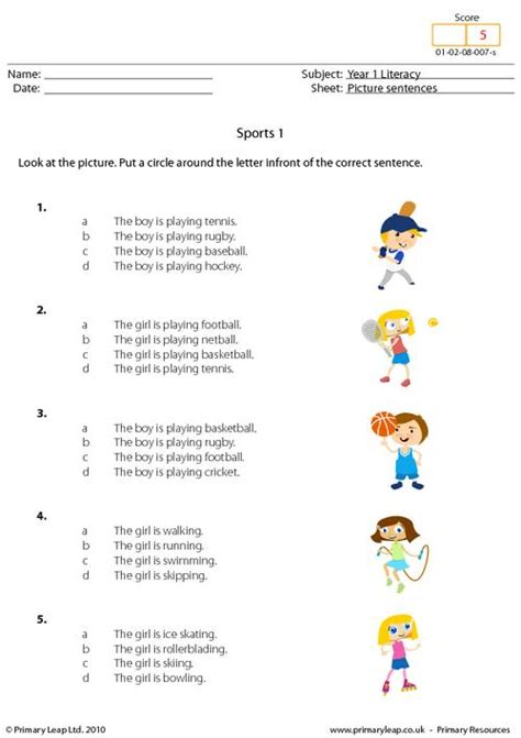 literacy picture sentences sports  worksheet