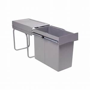 Poubelle Cuisine Sous Evier : poubelle de cuisine coulissante 1 bac 30 litres ~ Carolinahurricanesstore.com Idées de Décoration