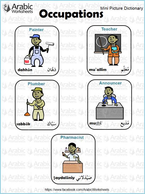 Occupations  Arabicworksheets (tm) Mini Dictionary  Pinterest  Learning Arabic, Learning And