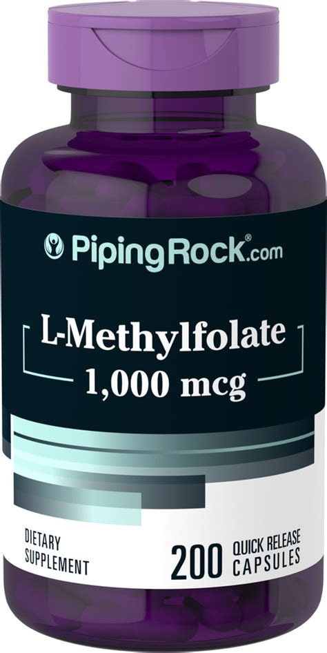L-Methylfolate Supplement 1000 mcg, 200 Capsules | Piping ...