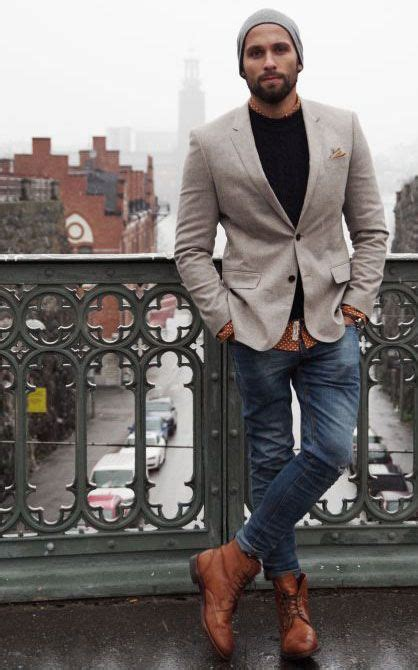 Casual Blazer Jeans Boots Men Style Fashion