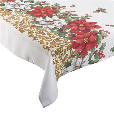 christmas tablecloth manita christmas table linen festive floral poinsettia polyester xmas tablecloth ebay