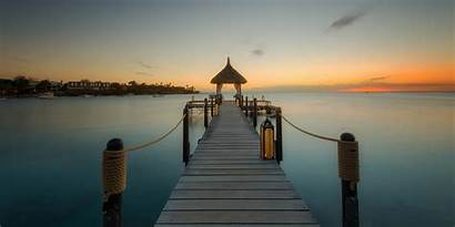 Sunrise Dock Beach Mauritius Tropical Island Landscape