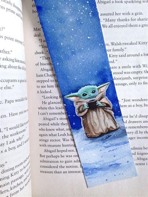 Marcapáginas baby Yoda en acuarela. Star wars, mandalorian ...