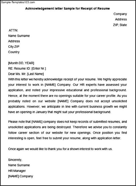 Applicant Resume Acknowledgement by Template Application Receipt Acknowledgement Letter Sle