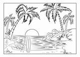 Coloring Paradise Island Beach Landscapes Palm Trees Sun Setting Landscape Adults Tropical Pages Surfboard Adult sketch template