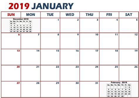 2019 Calendar Template January 2019 Calendar Template