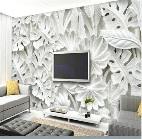 leaf pattern plaster relief murals wallpaper  walls