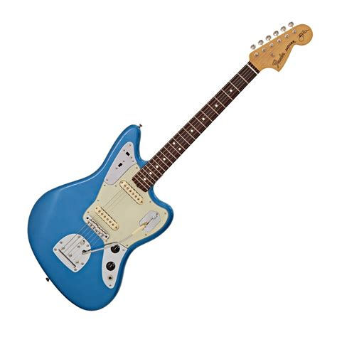 Blue Fender Jaguar by Fender Johnny Marr Jaguar Lake Placid Blue At Gear4music