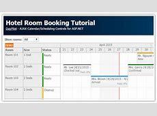 Hotel Room Booking Tutorial ASPNET, C#, VB, SQL Server DayPilot Code