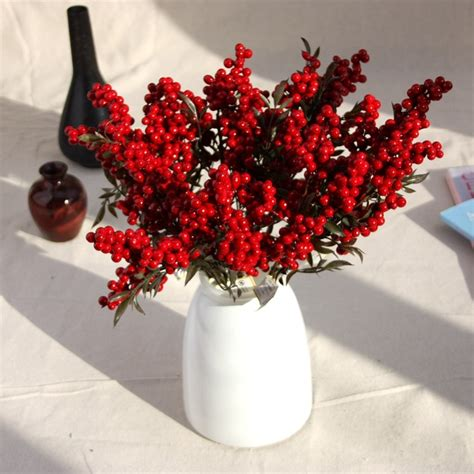 berry artificial flower fake red berries christmas flower