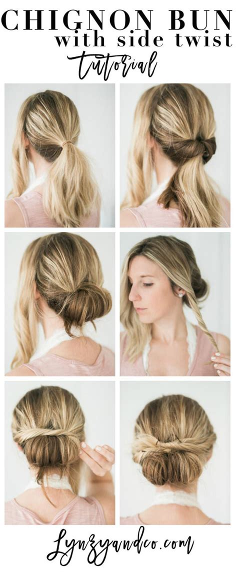 simple hair tutorial chignon bun with twist lynzy co
