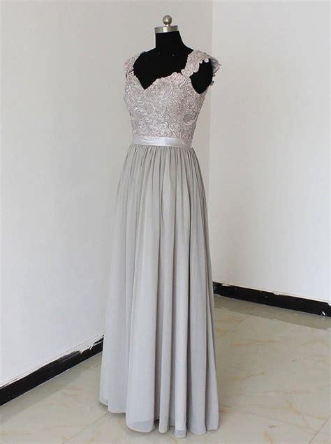 elegant sweetheart floor length chiffon silver bridesmaid