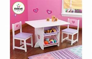 Table Et 2 Chaises Pour Petite Fille En Bois Avec